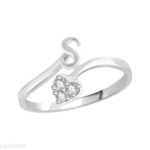 """VSHINE Adjustable Stylish Initial Alphabet Letter """"S"""" Diamond Studded Heart Ring Fancy Party Wear American Diamond Free Size Rhodium Plated Fashion Jewellery for Women and Girls"""