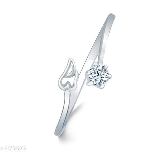 VSHINE Adjustable Leaf Single American Diamond Stone Rhodium Plated Stylish Fancy Party Wear Latest Design Shaped for Women and Girls