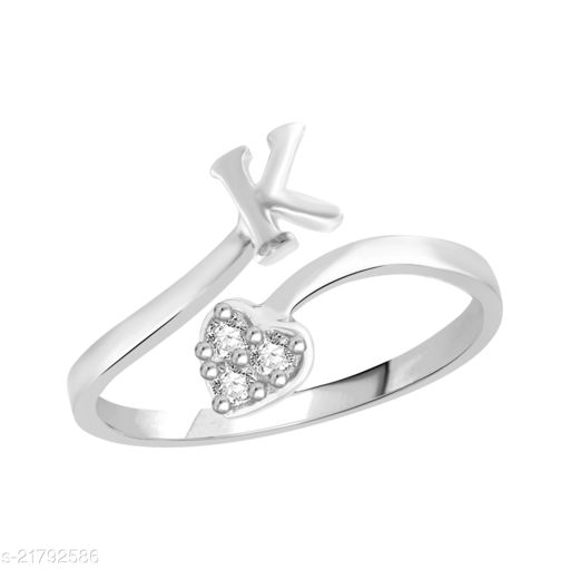 """VSHINE Adjustable Stylish Initial Alphabet Letter """"K"""" Diamond Studded Heart Ring Fancy Party Wear American Diamond Free Size Rhodium Plated Fashion Jewellery for Women and Girls"""
