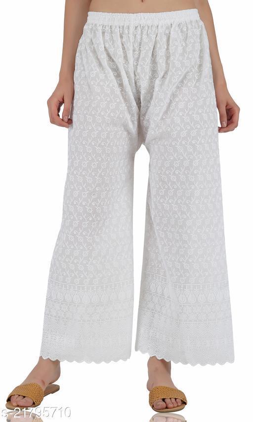 Women Stylish Full Chikan Cotton Plazzo