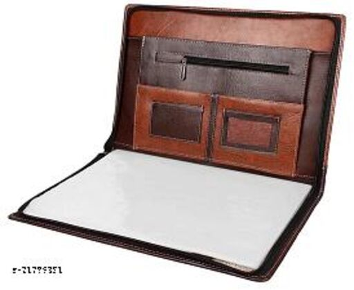 Attractive File & Folder Bag / Leather Documentary Brown Bag /Office Document File Folder / Essential Bags & Backpacks / Executive Bag  Folder / Leather Document Folder /Leatherette File folder/Leather Folder Bag/ Premium Faux Folder / PU Leather Document Bag/ Eminence Leather File and Folder/ Leather Professional Certificate Documents Folder / Leather Transparent Leaves Folder with Multi Pockets containing 20 Leaves) (Set of 1 Brown Bag