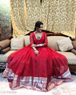Demanding Maroon Colored Party Wear Woven Pure Organza Gown