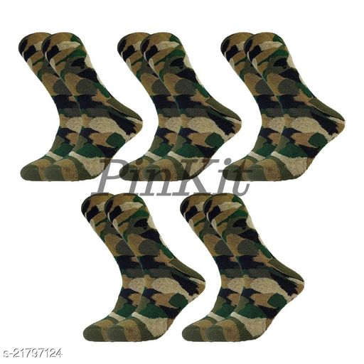 PinKit Men's Organic High Quality Army Patterned  Cotton Odour-Free Socks (Multicolour, 5 Pair)