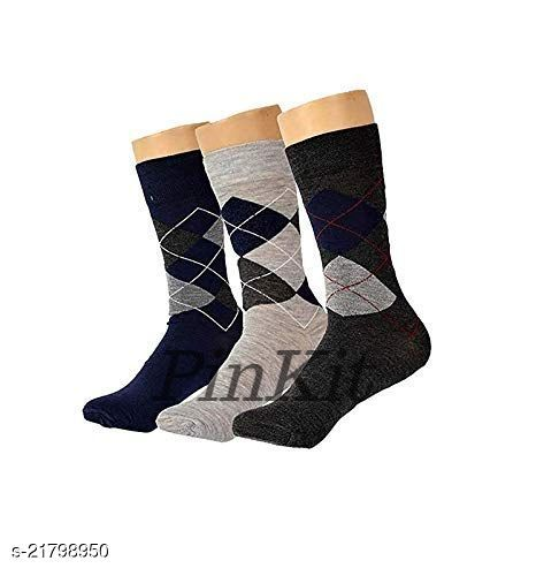 PinKit Men's Diamond Cut Organic Cotton Crew Length Socks (Multicolour, Pack of 3 Pairs)
