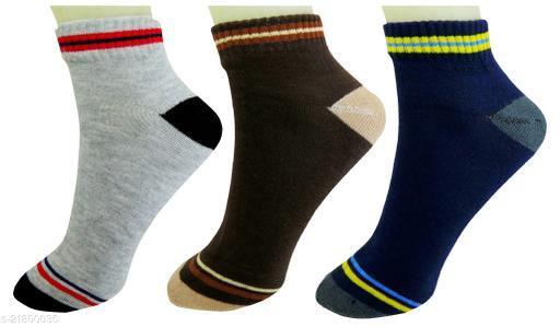 Neska Moda Standard 3 Pair Men's Formal Cotton Ankle Length Socks-Grey,Brown,Blue