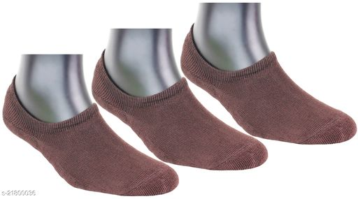 Top N Toe Mens 3 Pair Brown Terry Cotton No Show Loafer Socks-S1200