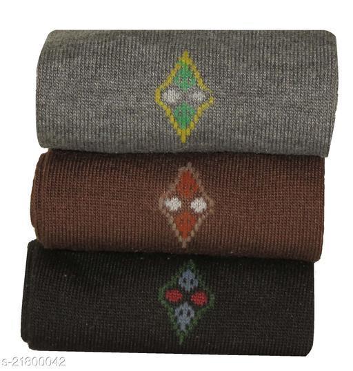 Neska Moda 3 Pair Men's Formal Cotton Solid Mid-calf Length Socks-Brown,Grey,Black