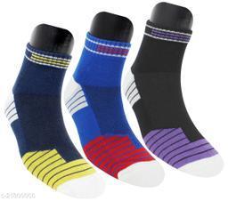 Neska Moda Men's 3 Pair Striped Cotton Ankle Length Socks (Blue,Dark Blue,Black)