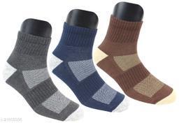 Neska Moda Men's 3 Pair Checkered Cotton Ankle Length Socks (Dark Blue,Grey,Brown)