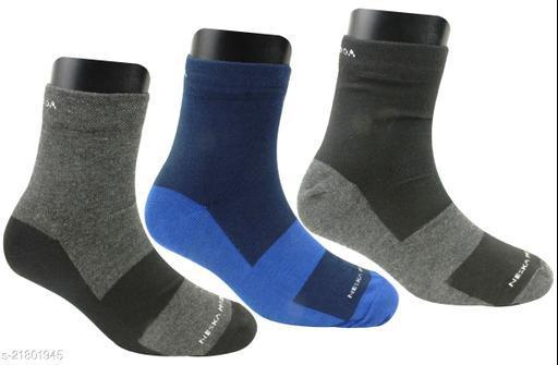 Neska Moda Men's 3 Pairs Multicolor Checkered Ankle Length Socks-S1314