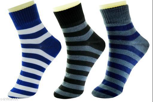 Neska Moda 3 Pair Men's Formal Cotton Rich Striped Ankle Length Socks-Blue,Black,Grey