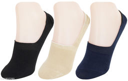 Neska Moda Men 3 Pair Cotton Solid No Show Loafer Socks (Black,Beige,Dark Blue)-S1490