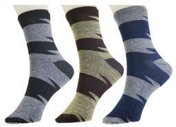 Neska Moda 3 Pair Men's Cotton Striped Ankle Length Socks-Multicolor