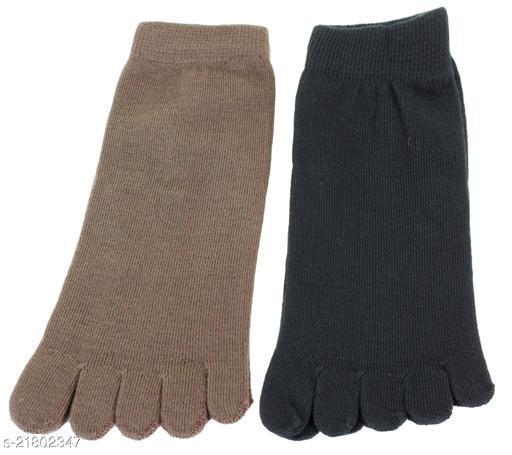 Neska Moda Men 2 Pair Cotton Black and Brown Ankle Length Socks-S1123