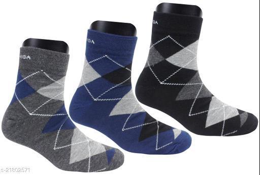 Neska Moda Men's 3 Pair Checkered Ankle Length Socks-(Black,Dark Blue,Grey)