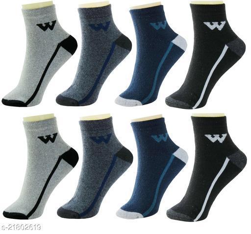 Neska Moda Premium Men's 8 Pairs Terry Cotton Ankle Length Socks-Multicolor