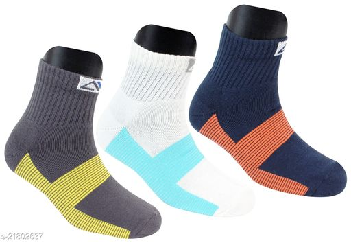 Neska Moda Men's 3 Pair Striped Cotton Ankle Length Socks (Dark Blue,Grey,White)