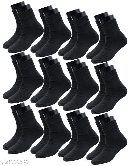 Neska Moda Pack of 12 Pair Men's Solid Free Size Cotton Ankle Length Socks - Black Color Formal Socks