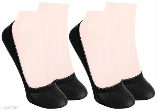 Neska Moda Pack of 3 Pair Women's Solid Free Size Cotton No Show Socks - Black Color Casual Socks