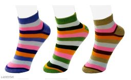 Neska Moda Pack of 3 Pair Women's Striped Free Size Cotton Ankle Length Socks - Brown,Purple,Green Color Casual Socks