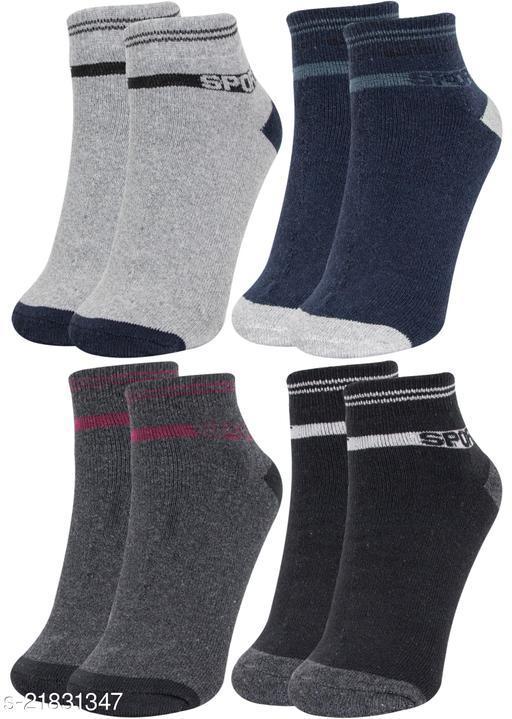 Neska Moda Men's & Women's 4 Pair Ankle Socks (Grey,Dark Blue,Black) -S1593