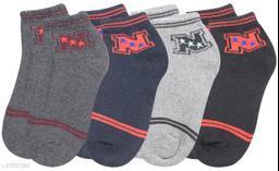 Neska Moda Men's & Women's 4 Pair Ankle Socks (Grey,Dark Blue,Black) -S1595