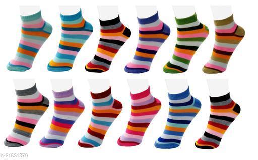 Neska Moda Pack of 12 Pair Women's Striped Free Size Cotton Ankle Length Socks - Pink,Blue,Grey,Orange,Purple,Brown Color Casual Socks