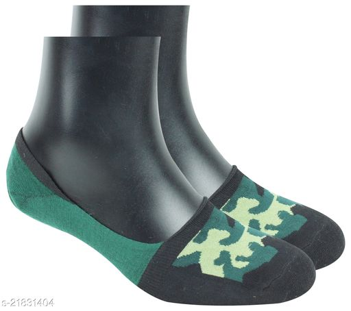 Neska Moda Men & Women 1 Pair Green No Show Socks -S1271
