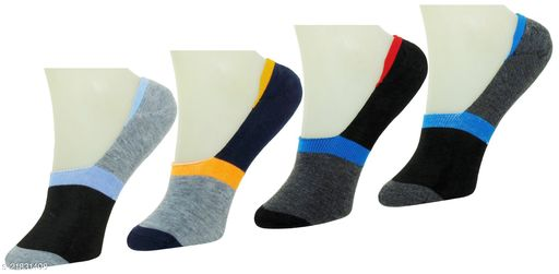 Neska Moda Premium Men & Women 4 Pairs Cotton Loafer Socks With Silicon Gel Grip-Grey,Black