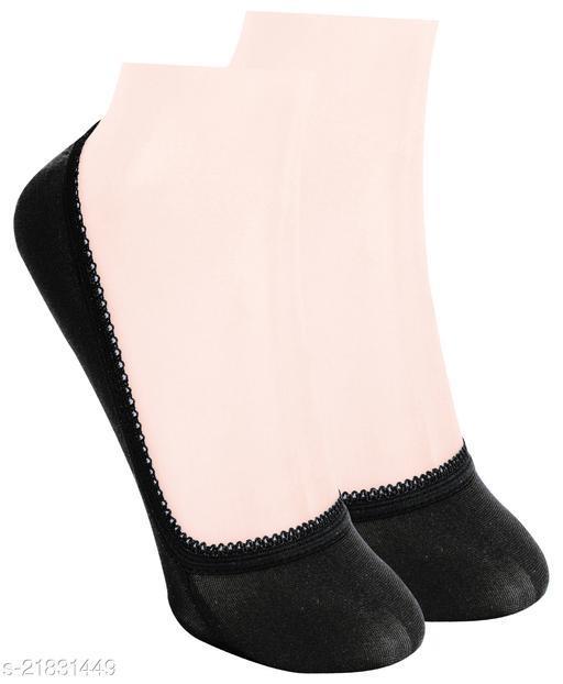 Neska Moda Pack of 1 Pair Women's Solid Free Size Cotton No Show Socks - Black Color Casual Socks