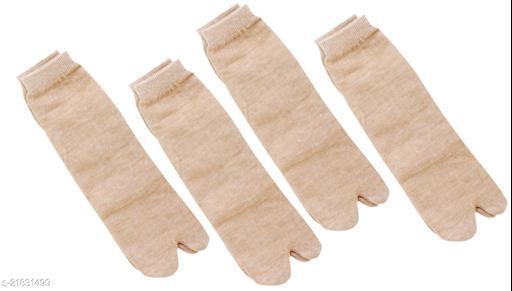 Neska Moda 4 Pair Women's Cotton Rich Plain Ankle Length Thumb Socks-Brown
