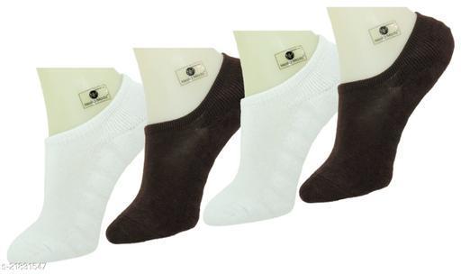 Neska Moda Premium Men & Women 4 Pairs Terry Cotton Loafer Socks With Silicon Gel Grip-Brown,White