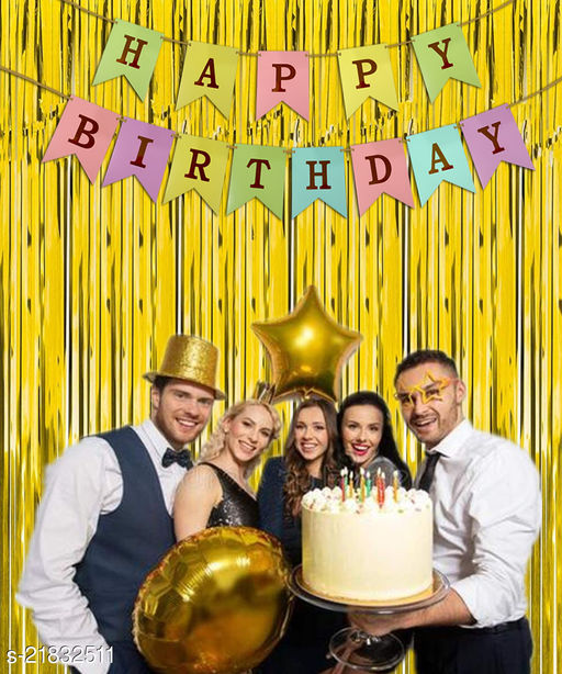 Style Secrets Must Have Birthday Combo - 2 Premium Quality Golden Fringe (3 by 6 feet ) and 1 Multi Color Golden Letters Banner with Ribbon (Total Units-3 )