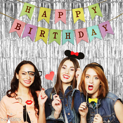 Style Secrets Must Have Birthday Combo - 2 Premium Quality Silver Fringe (3 by 6 feet ) and 1 Multi Color Golden Letters Banner with Ribbon (Total Units-3 )
