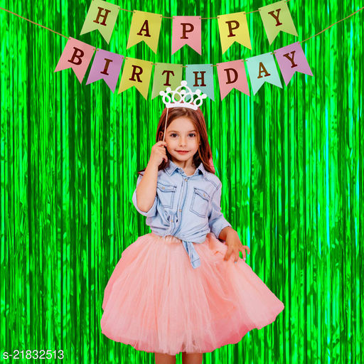 Style Secrets Must Have Birthday Combo - 2 Premium Quality Green Fringe (3 by 6 feet ) and 1 Multi Color Golden Letters Banner with Ribbon (Total Units-3 )