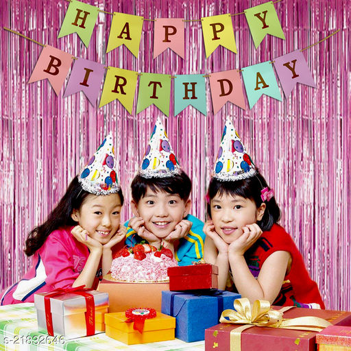Style Secrets Must Have Birthday Combo - 2 Premium Quality Pink Fringe (3 by 6 feet ) and 1 Multi Color Golden Letters Banner with Ribbon (Total Units-3 )