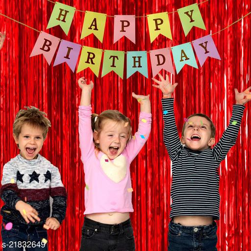 Style Secrets Must Have Birthday Combo - 2 Premium Quality Red Fringe (3 by 6 feet ) and 1 Multi Color Golden Letters Banner with Ribbon (Total Units-3 )
