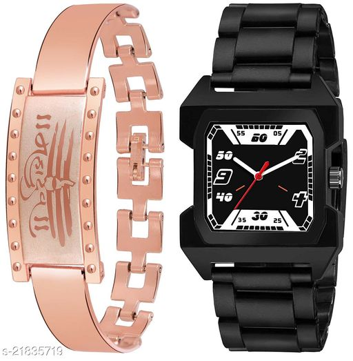 Unique Design Watch With Free Bracelet analog Watch For Boys And Men