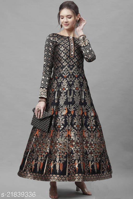 Purvaja Women's Jacquard Semi-Stitched Anarkali Gown