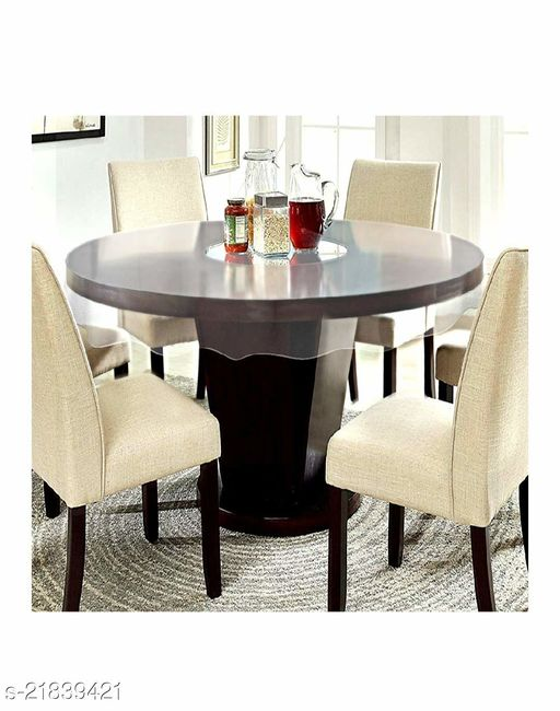 PVC Transparent 6 Seater Round Dining Table Cover Without Lace ( Size-72 inch Round)
