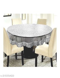 3D PVC Transparent 6 Seater Round Dining Table Cover With Silver Lace ( Size-72 inch Round)