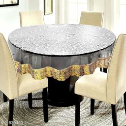 3D PVC Transparent 6 Seater Round Dining Table Cover With Golden Lace ( Size-72 inch Round)