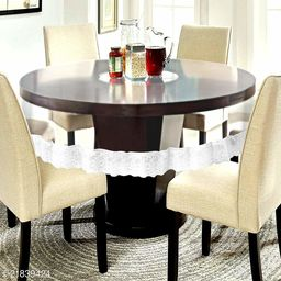PVC Transparent 6 Seater Round Dining Table Cover With Silver Lace ( Size-72 inch Round)