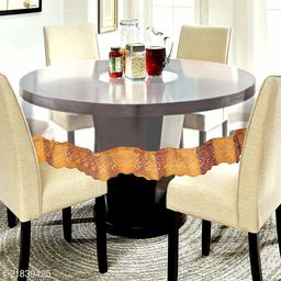 PVC Transparent 6 Seater Round Dining Table Cover With Golden Lace ( Size-72 inch Round)