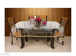 PVC Transparent Square Centre Table Cover With Tiny Golden Lace ( Size-48x48 inches)