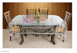 PVC Transparent Square Centre Table Cover With Tiny Silver Lace ( Size-48x48 inches)