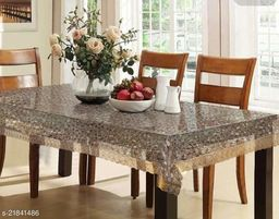 PVC 3D Transparent Square Centre Table Cover With Golden Lace ( Size-48x48 inches)
