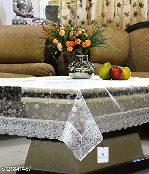 PVC 3D Transparent Square Centre Table Cover With Silver Lace ( Size-48x48 inches)