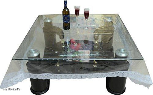 PVC Transparent 4 Seater Square Dining Table Cover With Silver Lace ( Size-60x60 inches)