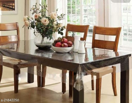 PVC Transparent 4 Seater Square Dining Table Cover Without Lace ( Size-60x60 inches)